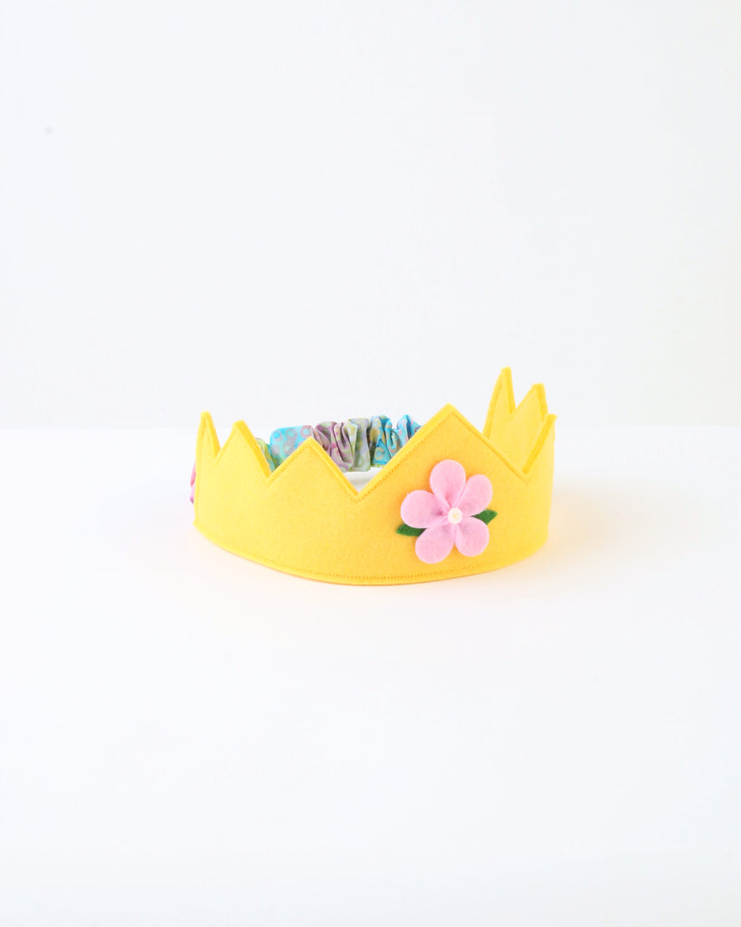 Wool Felt Crown — Yellow Flower