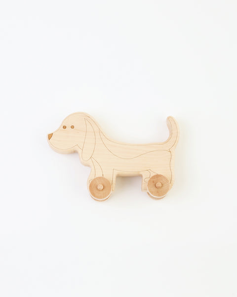engraved wood dog push toy with wheels