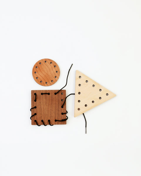 wood lacing toy set with three shapes