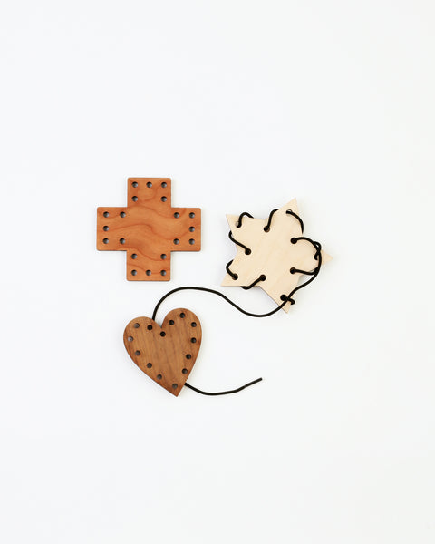 wood lacing toy with three shapes
