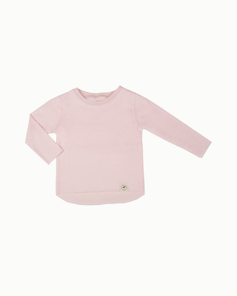 Raw Edge Long Tee in Ballet Pink