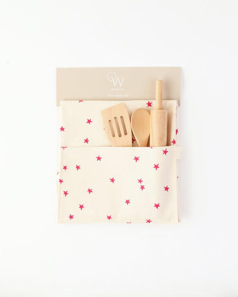 Kids Apron & Utensils in Pink Star