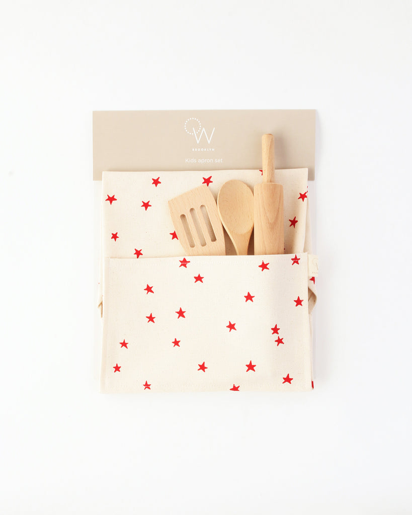 Kids Apron & Utensils in Red Star