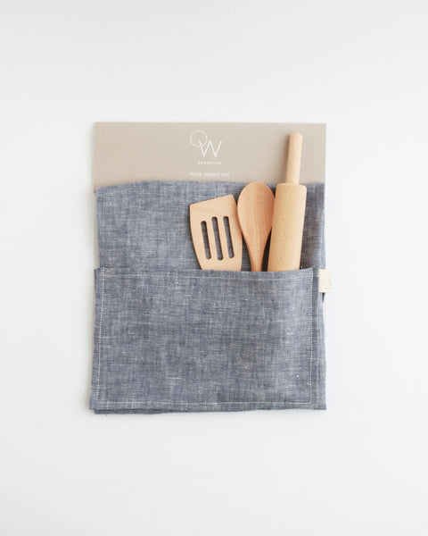 Kids Apron & Utensils in Indigo Linen