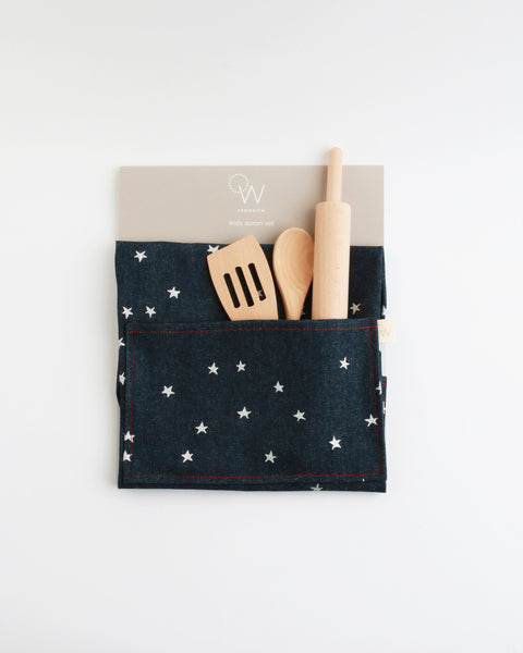 Kids Apron & Utensils in Denim Silver Star