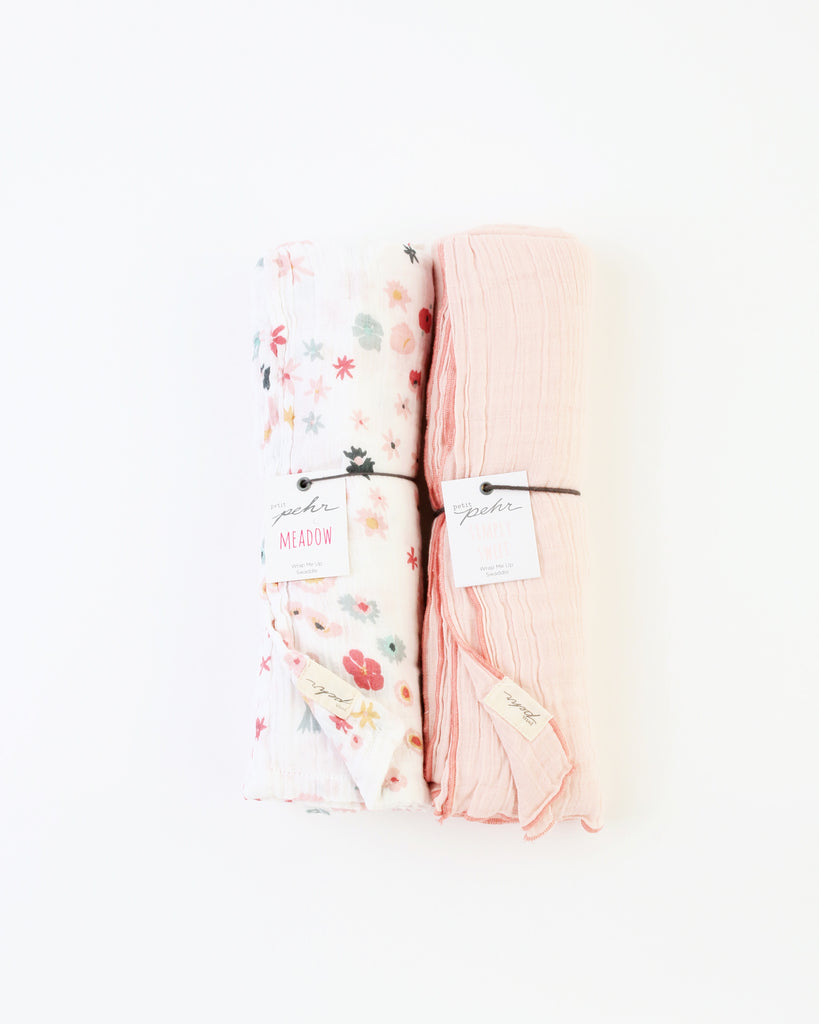 Meadow/Pink Swaddle Set