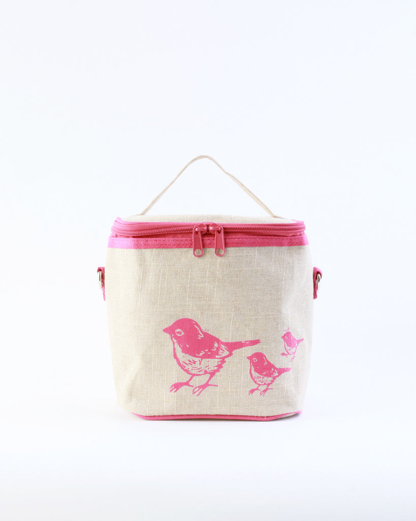 Small Cooler Bag - Pink Birds