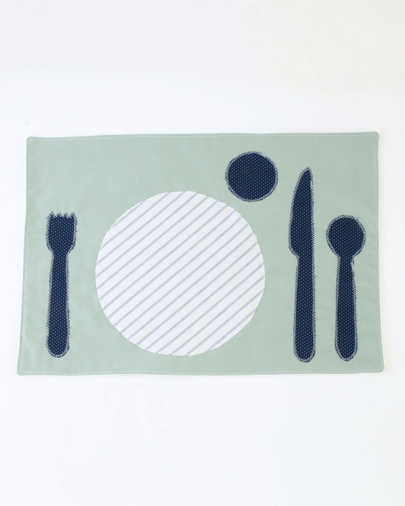 Children's Placemat — Seafoam with Blue Stripe