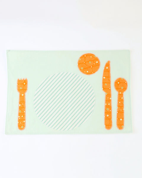 Children's Placemat — Seafoam with Orange Stripe