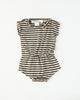 Rolled Romper in Charcoal Stripe
