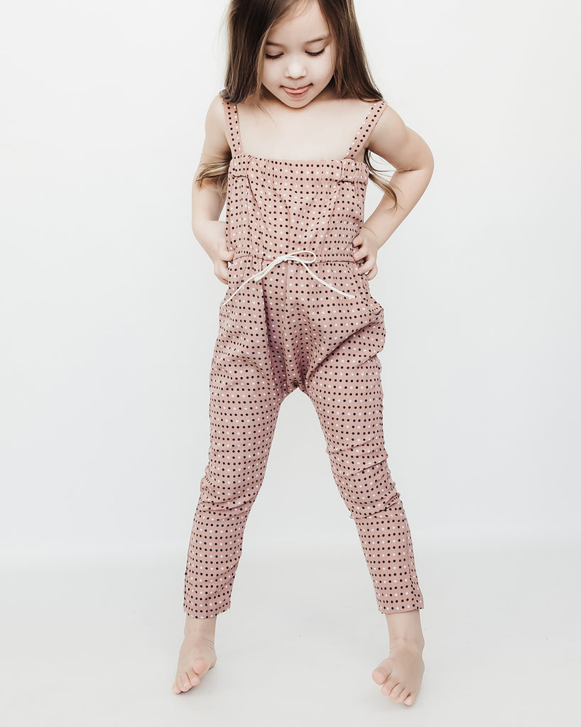 Jumpsuit in Rose Polkadot Chablis