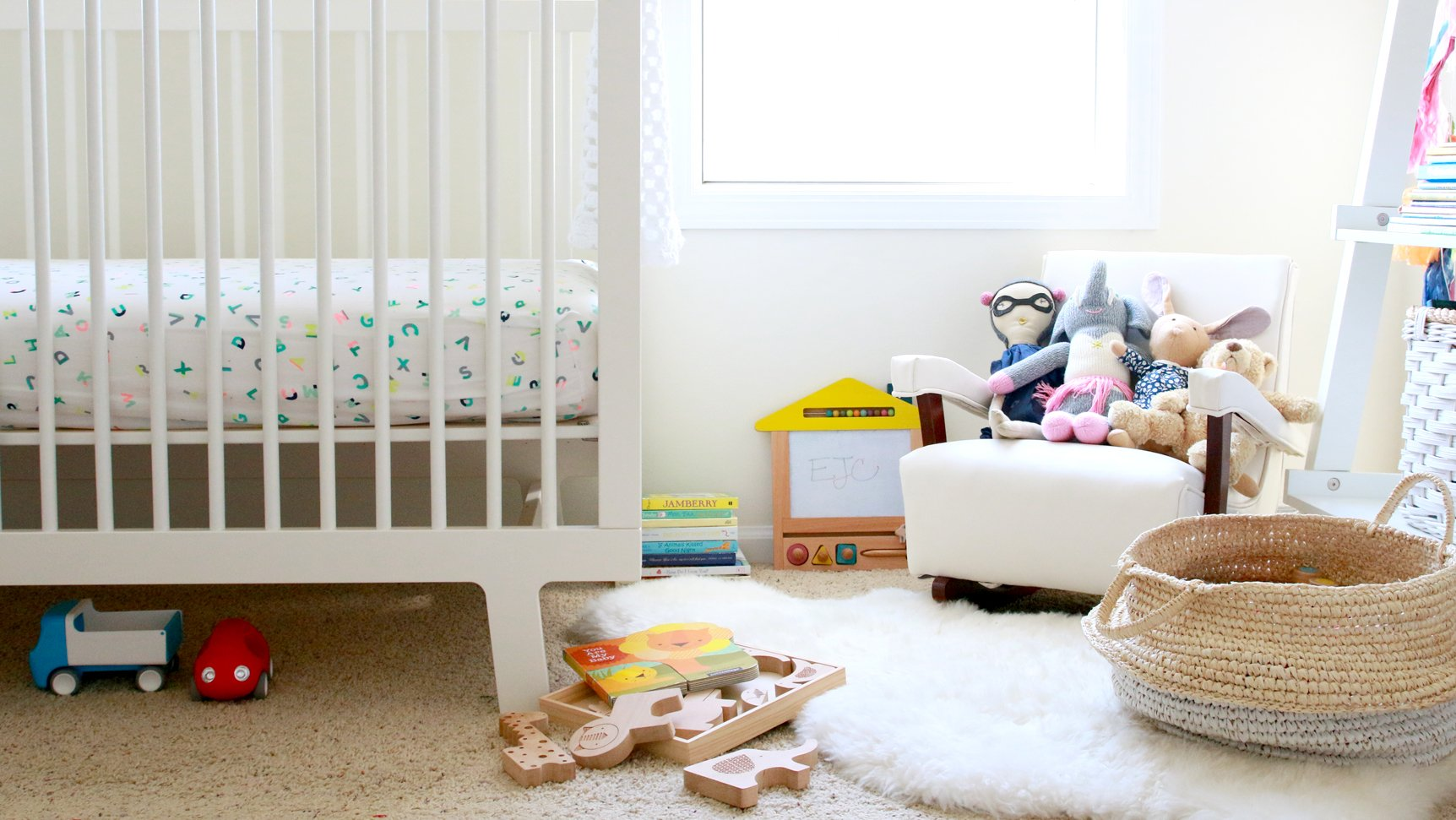 nursery with crib and toys