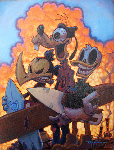3 Amigos by Damian Fulton Mickey Mouse Goofy Canvas Fine Art Print