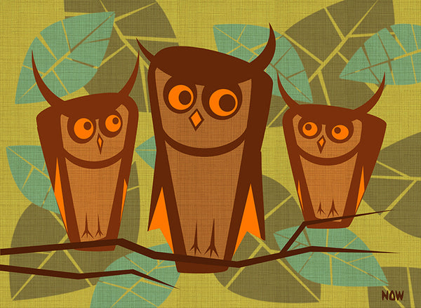 3 wise owls by now modern retro birds in tree 1960s home decor canvas art print 1950s alternative vintage wall-decor 1970s