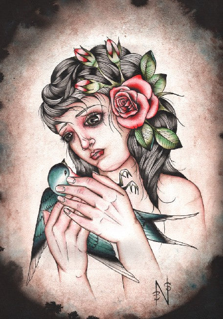 portrait hand crying bloody tears painting traditional tattoo flash designs color artwork artist black wood home decor large