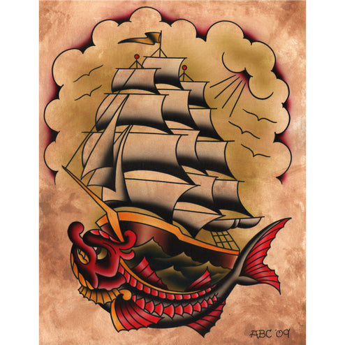Ahoy by Aaron Cox Carp Ship Tattoo Unstretched Canvas Art Print