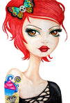 redhead alice in candyland by stephanie zahalka tattoo girl canvas art print rockabilly woman  cupcake  skull butterfly