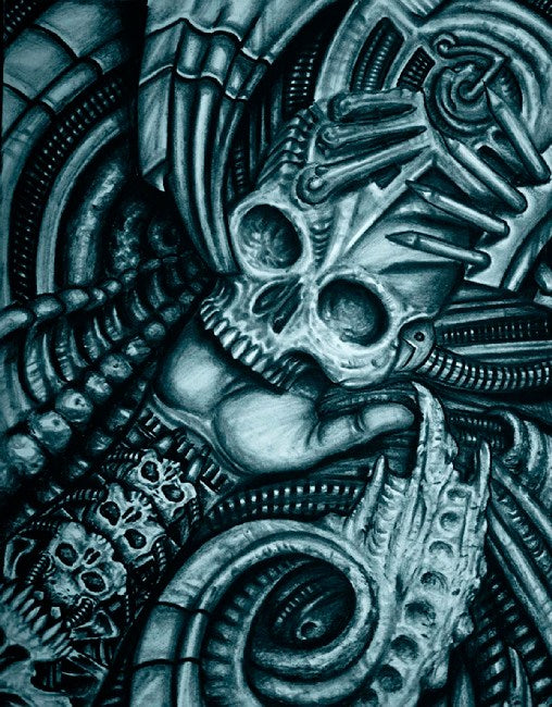 biomechanical artwork biomech mechanical colorful geek painting gothic scary horror monotone wall hanging alien decor home ga