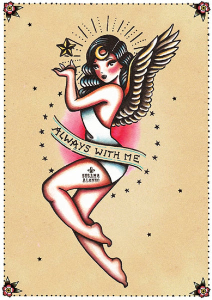always with me by susana alonso old school angel pin up tattoo canvas art print girl flash design artwork home-decor