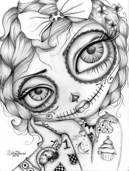 amelia day of the dead by dottie gleason girl face tattoo canvas fine art print artwork  sketch black-and-white paintings punk