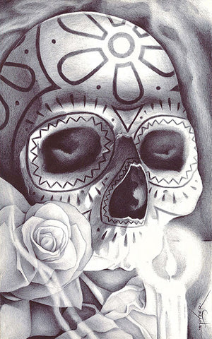 an elaborate display by spyder sugar skull black & white tattoo canvas art print dia-de-los-muertos haunted day-of-the-dead gothic  alternative-artwork