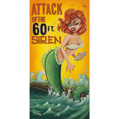 Attack of the 60 foot Siren by Candy Wild Rolled Canvas Art Print