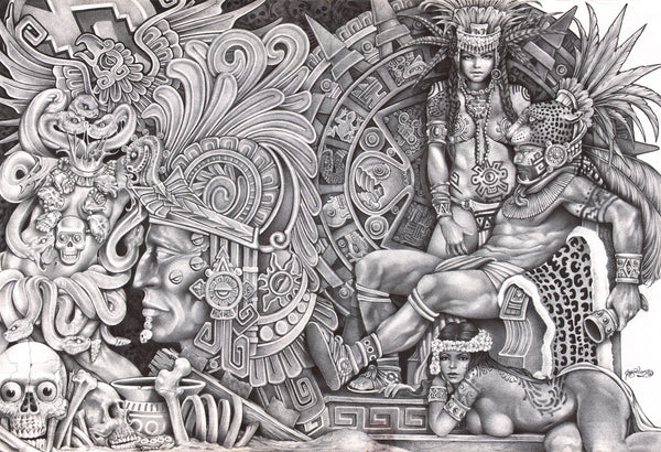 aztec dream by mouse lopez mexican indians black white canvas art giclee print black-and-white Mexico  prison-art drawing tribal