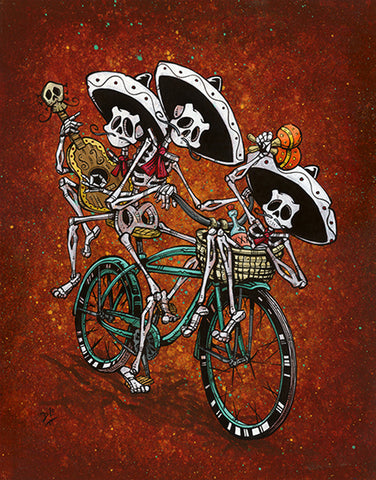 Band On The Run by David Lozeau Mexican Skeleton Canvas Fine Art Print