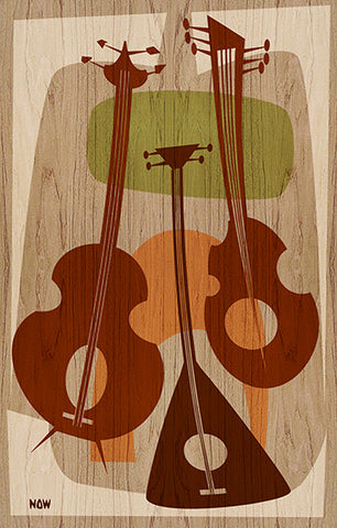 beat strung by now modern musical string instruments beatnik canvas art print 1950s alternative vintage wall-decor 1970s