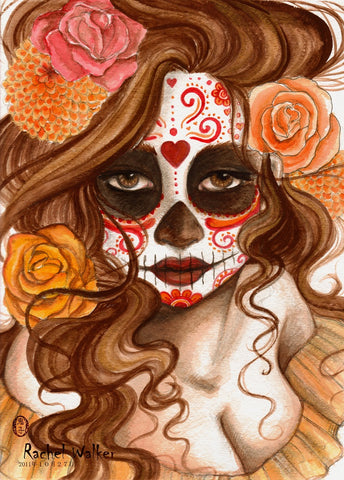 beautiful death by rachel walker mexican death mask day of the dead woman canvas giclee art print sexy latina woman-with-sugar-skull-mask death-mask traditional