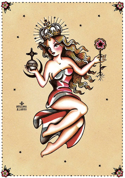 Behold by Susana Alonso Old School Tattoo Queen Fine Art Print