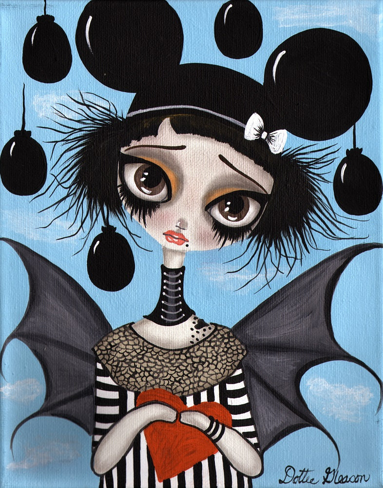 Believe No 1 by Dottie Gleason Bat Girl w Mouse Ears Canvas Art Print