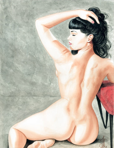 betty cakes by jesso female nude pin-up rockabilly artwork canvas fine art print bettie-page  naked  curvy artwork girl