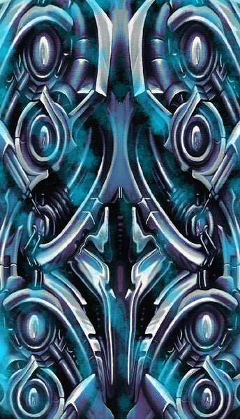bio smoke by roman bio-mechanical techno blue framed wall decor art print biomechanical  artwork  biomech  mechanical
