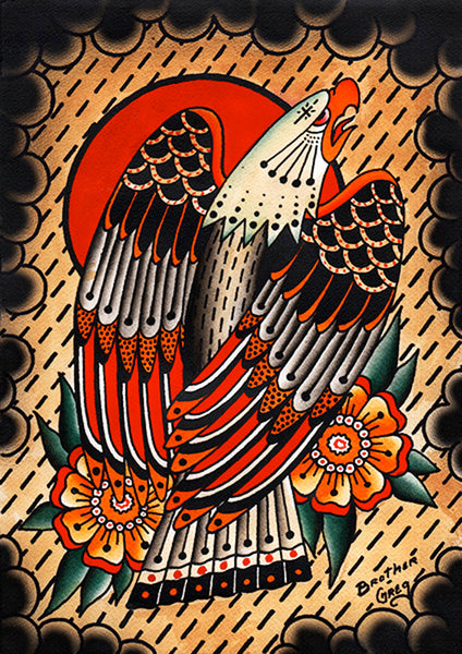Bird of Prey by Brother Greg Old School Eagle Tattoo Canvas Art Print