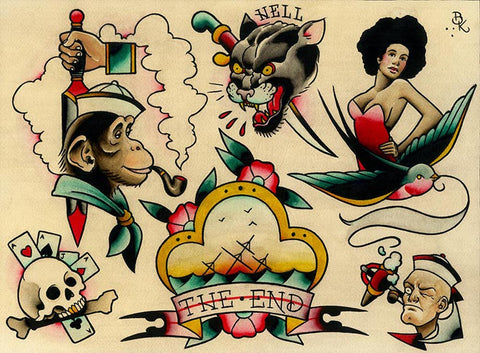 flash 12 by brian kelly smoking monkey pipe tattoo designs canvas fine art print sailor-monkey anchor black-panther swallow alternative-artwork