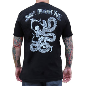 Black Market Art Company Skull and Snake Men's T Shirt