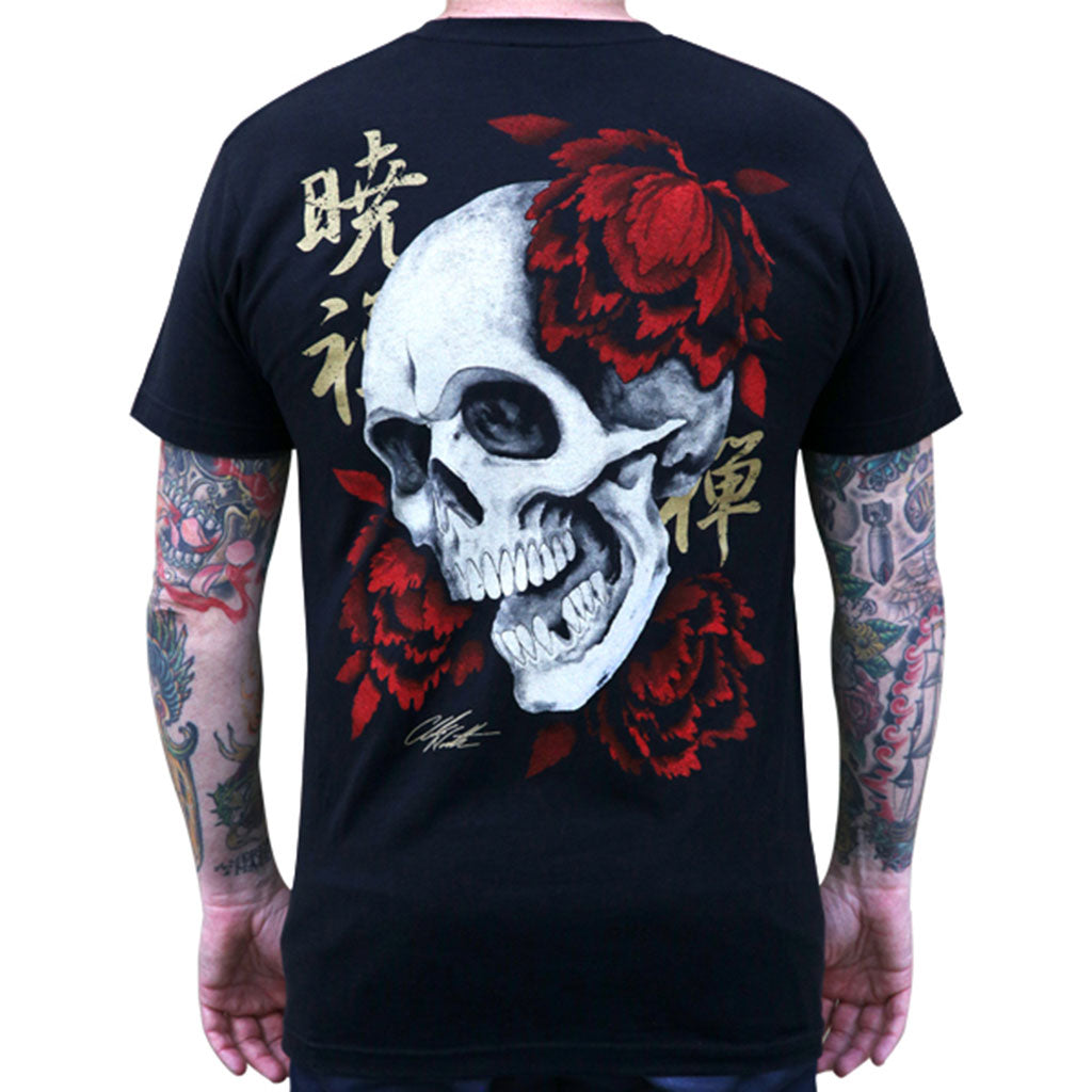 Men's Rebirth by Clark North Japanese Skull Traditional Asian Tattoo Art T-Shirt clothing tee shirt shop excellent durable retro vintage urban new style guys nice graphic trendy design double printed back print branded high quality men crew neck tattoo parlor artist japanese traditional famous japan mythology chinese folklore
