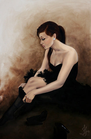 black ballerina by jesso swan lake woman ballet dancer canvas giclee art print artwork artist painting picture indie