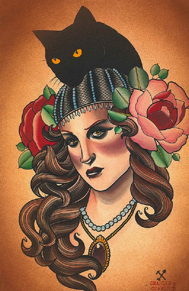 black cat by charlie coffin tattoo gypsy portrait framed wall decor art print spanish  Tattoo-roses  bad-luck  haunted mystic