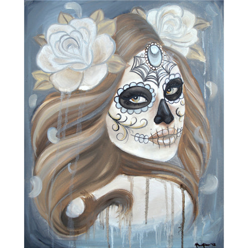 Dead by Thea Fear Sugar Skull Woman Rolled Canvas Art Print
