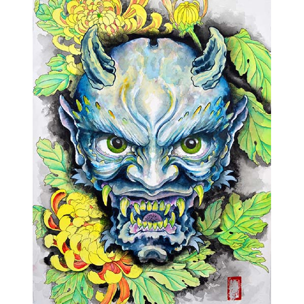 Blue Oni by Clark North Rolled Canvas Art Giclee Print