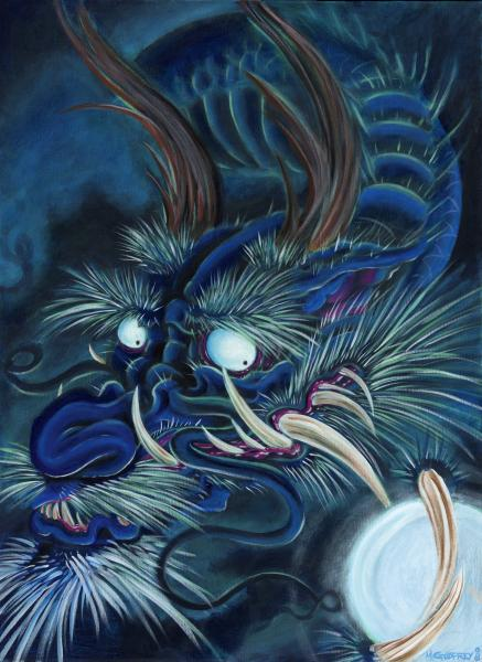 blue dragon by mike godfrey canvas or paper rolled art print decor  fine  artwork  gallery  wall