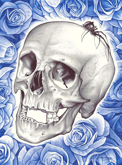 Blue Roses Death by Spyder Paper Rolled Art Unframed Giclee Print