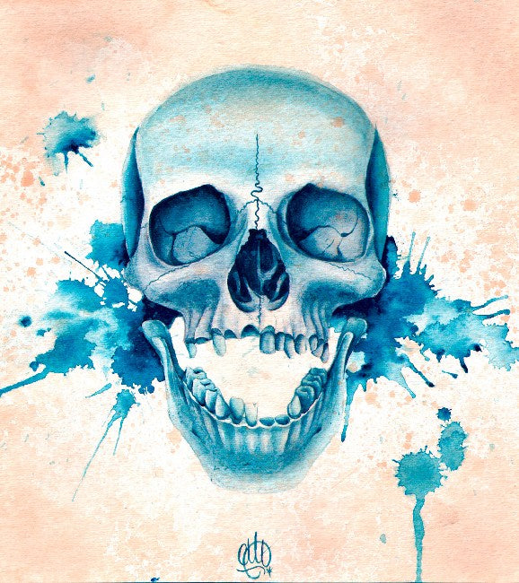Blue Skull by Christina Ramos Rolled Canvas Art Giclee Print