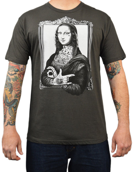 men's mona lisa by jarad bryant artist art t-shirt tee top tattooed tattoo alc tattooed-celebrity  tattooed-mona-lisa tattoo-tees  famous-artwork  leonardo-da-vinci-tattoo-artwork