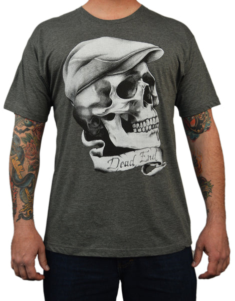 men's dead end by leon morley skull w newsboy cap hat tattoo charcoal t-shirt old-school artwork tee gothic guys