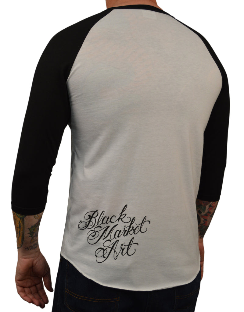 Men's Eve by Jarad Bryant Sexy Tattooed Woman Baseball Raglan T Shirt
