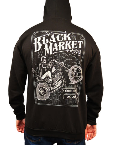 Men's Two Wheel Terror by Adi Skeleton Rider Motorcycle Biker Hoodie