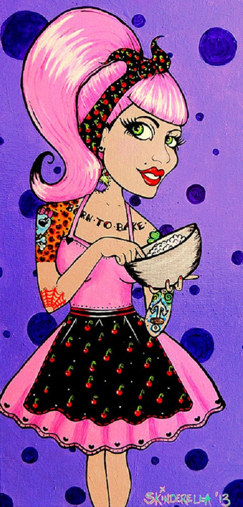 Born to Bake by Skinderella Rolled Canvas Art Giclee Print